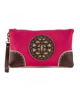 Bolso de mano de tela con adornos en piel.