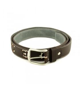 Cinturón taurino de piel marrón con hierros en blanco