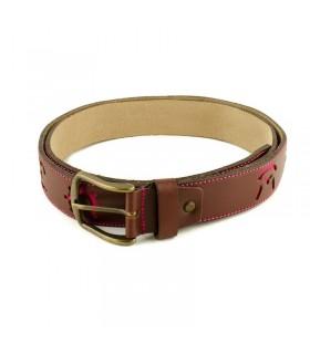Cinturón taurino de piel marrón con hierros en fucsia