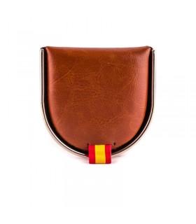 Monedero de hombre de piel, con bandera de España