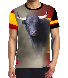 Camiseta con Toro negro y bandera de España  - 1