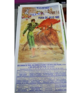 Cartel taurino Año 1992 Feria Julio Valencia