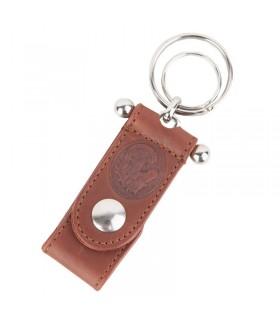 Porte-clés en cuir avec tête de cheval gravée
