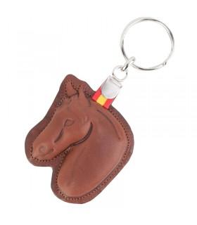 Porte-clés tête de cheval en cuir avec drapeau de l'Espagne