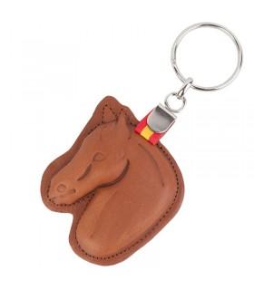 Leather horse head keychain with Spanish flag  - 2