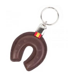 Porte-clés en cuir de fer à cheval avec le drapeau de l'Espagne