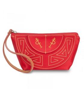 Bolso taurino de mano rojo con asa de piel