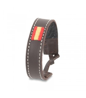 Brown leather bracelet with Spanish flag  - 1
