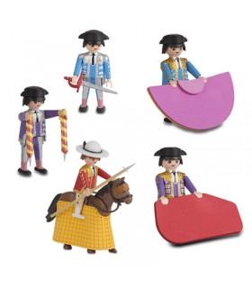 Cuadrilla de click toreros, con picador y cuatro toreros