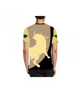 Camiseta taurina con toro cárdeno en el campo