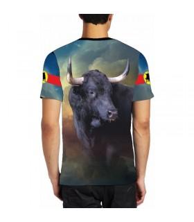 Camiseta taurina con dibujo de toro en la plaza