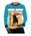 Long-sleeved taurine T-shirt with bull-jumping trimmer