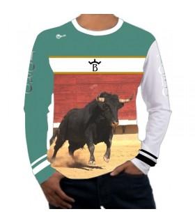 Camiseta taurina manga larga con toro en la plaza