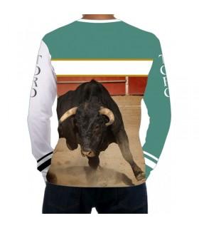 Chemise taurine à manches longues avec taureau dans l´arena