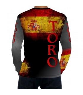 Camiseta taurina manga larga con bandera de España