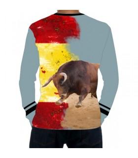 Camiseta taurina manga larga con toro embistiendo la bandera de España