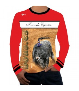 chemise à manches longues taurine avec taureaux d'Espagne