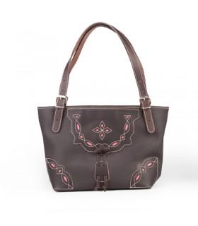 Bolso de piel marrón con remates calado en tela de capote