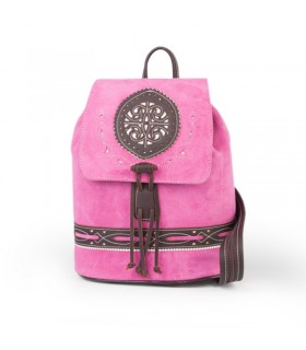 Fuchsia leather taurine backpack with leather finishes  - 1