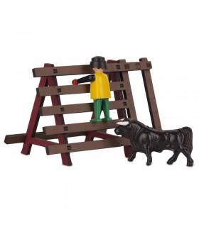 Barrière pour taureaux avec passage pour les gens