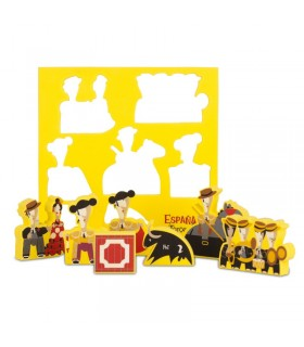 Puzzle with foam rubber bullfighting figures