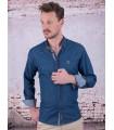 Taurine chemise pour homme bleu marine et fuchsia