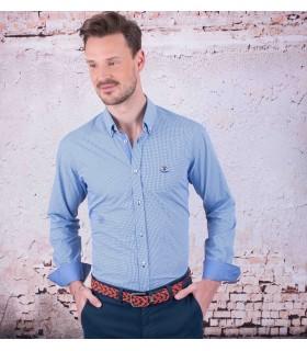 Camisa azul piqué de marca La Española  - 1