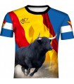 Camiseta taurina con toro y bandera cruzada