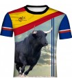 Bullfighting T-shirt with bull and cross flag 2