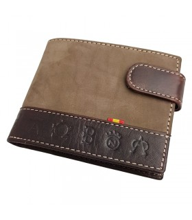 Brown suede taurine wallet with engraved irons