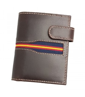 Brown leather wallet with Spanish flag  - 1