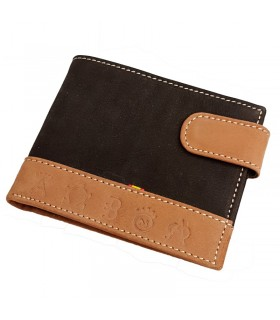 Brown suede taurine wallet with bullfighting irons