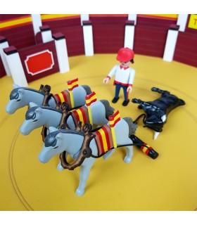 Mulillas de trois chevaux pour ramper des taureaux playmobil échelle originale. Mastoro - 1
