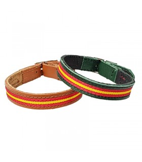 Green leather bracelet with Spanish flag  - 1