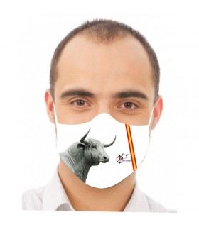 Mascarilla con imagen de cabeza de toro bravo  - 1
