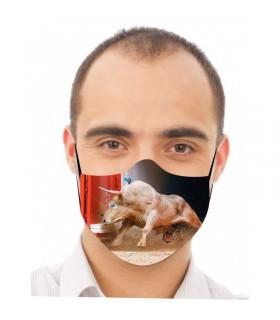 Mascarilla con toro saliendo de toriles  - 1