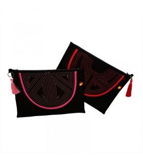 copy of Fabric handbag with leather embellishments.  - 1