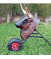 copy of Bullfighting cart for children, with real horns and folding.