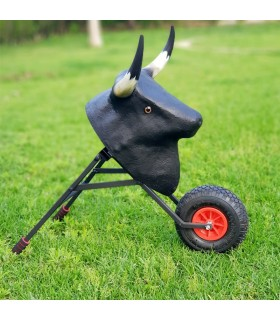 Bullfighting cart for children, with real horns and folding.  - 1