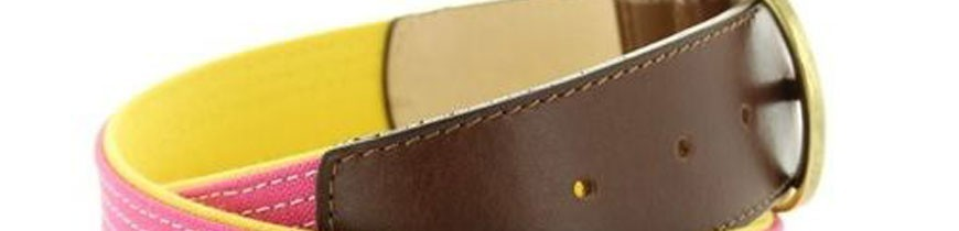 Cinturones taurinos de tela de capote y piel con hierros taurinos