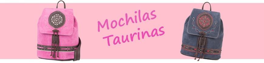 Mochilas taurinas y rocieras fabricadas en tela de capote y piel.